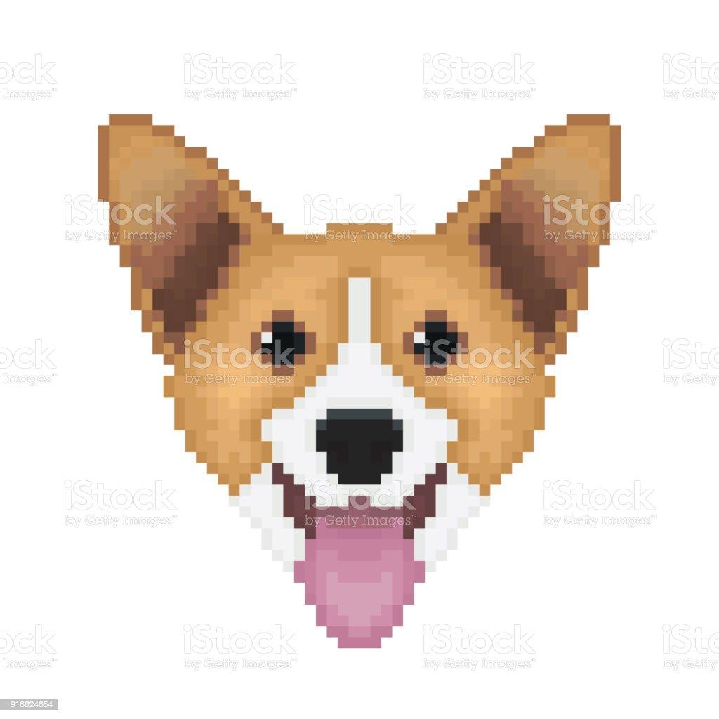 Tête De Chien Pembroke Welsh Corgi Dans Un Style Pixel Art