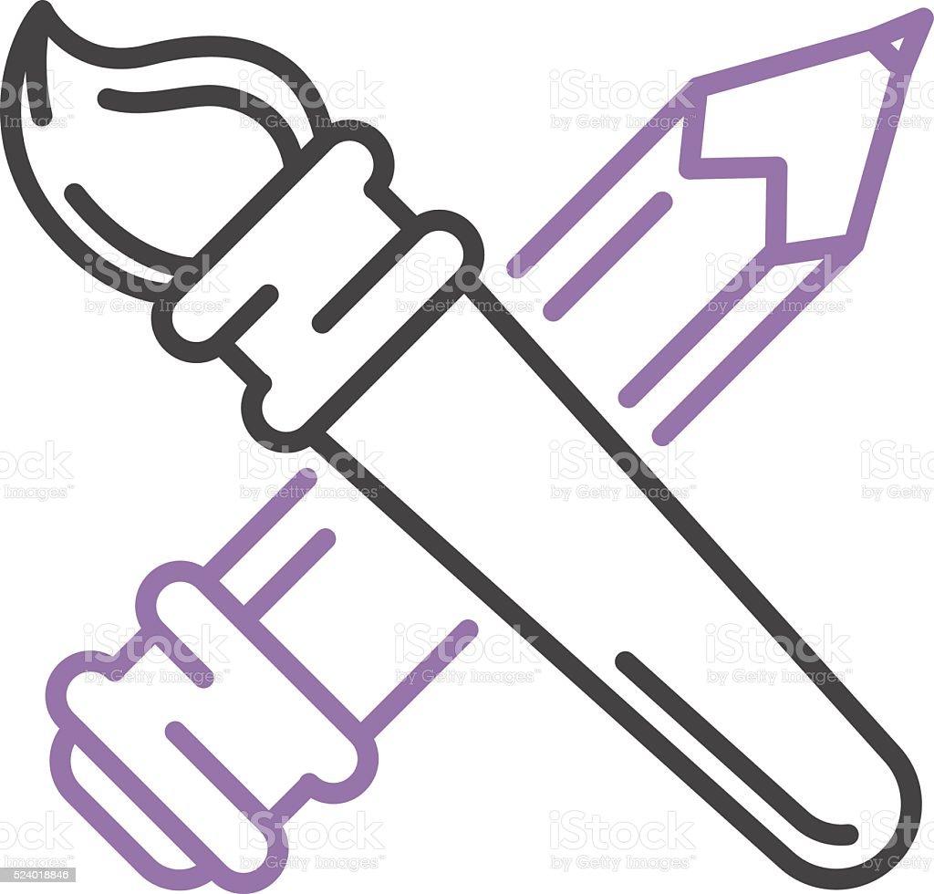 pincel dibujo. pincel y lápiz de dibujo escritura herramientas iconos vector equipo pintor illustracion t