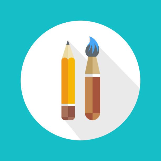 stift und pinsel-symbol - filzarbeiten stock-grafiken, -clipart, -cartoons und -symbole
