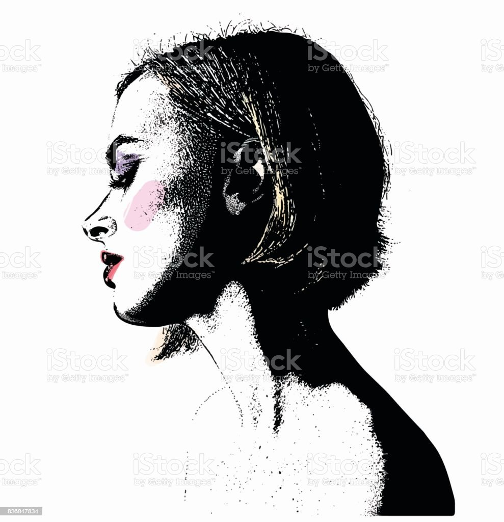 Pen and ink style Portrait of beautiful young woman vector art illustration