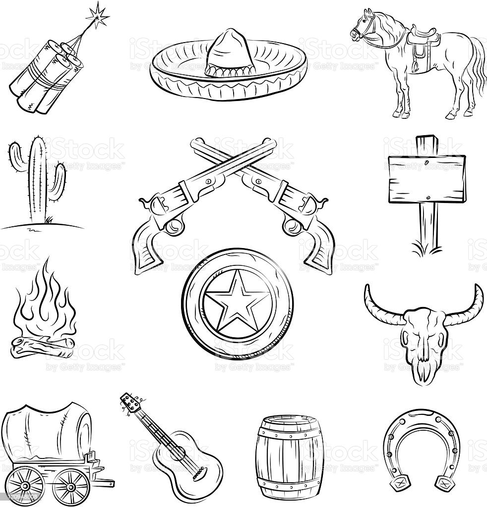 Pen and ink style Wild West vector images royalty-free pen and ink style wild west vector images stock vector art & more images of adventure