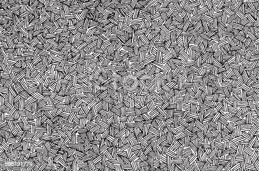Vector illustration of a pen and ink cross-hatch style background.