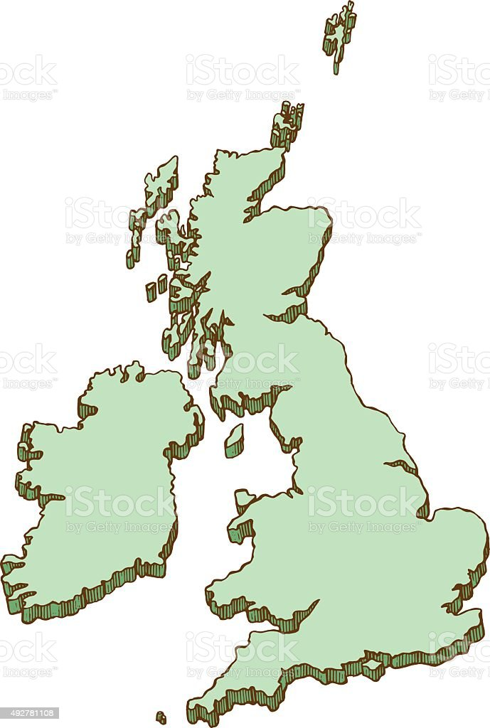 Pen and ink UK map illustration vector art illustration