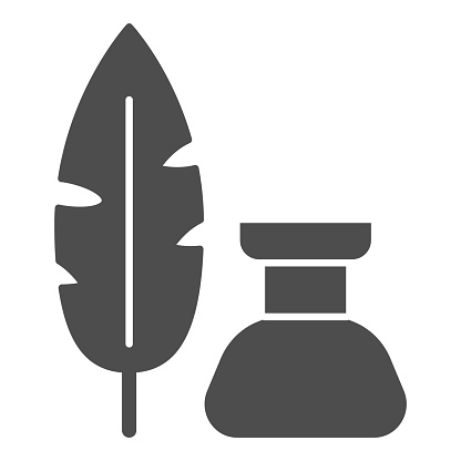 Pen and inkwell solid icon, Back to school concept, Inkstand with writing feather sign on white background, feather and ink bottle icon in glyph style for mobile and web. Vector graphics.