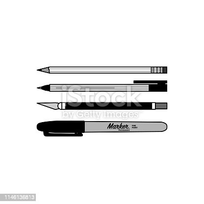 Writing utensils and utility knife