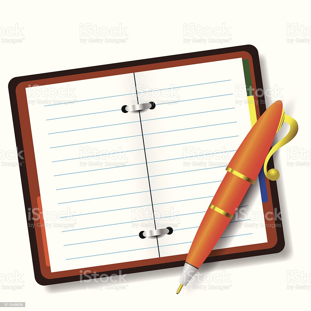 pen and notebook vector art illustration