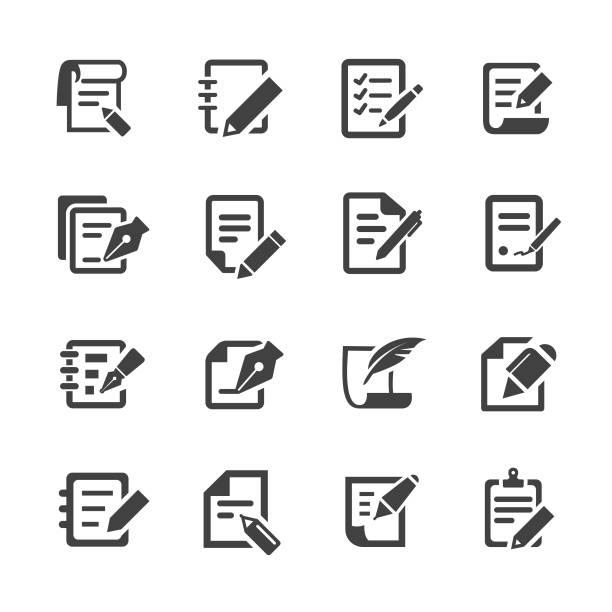 ikony pióra i papieru - seria acme - pióro przyrząd do pisania stock illustrations