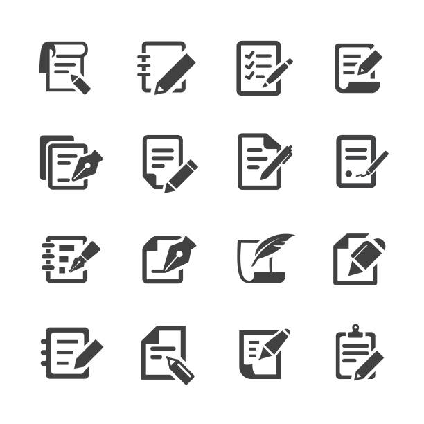 Pen and Paper Icons - Acme Series Pen, Paper, form document stock illustrations