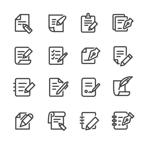 ilustrações de stock, clip art, desenhos animados e ícones de pen and paper icons - line series - caneta