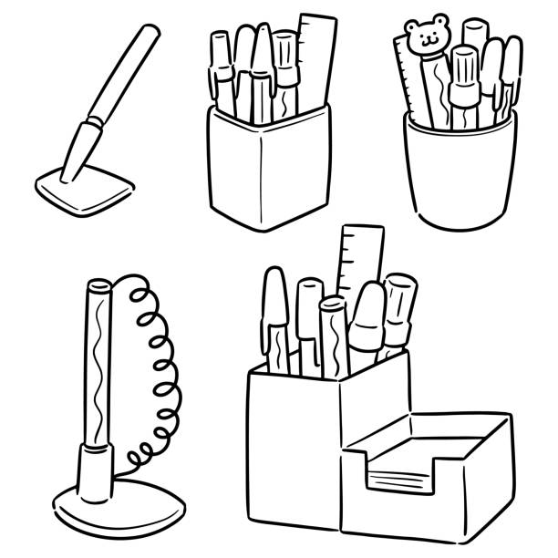 pen and pen holder – artystyczna grafika wektorowa