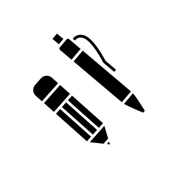 ilustraciones, imágenes clip art, dibujos animados e iconos de stock de icono de pluma y lápiz, ilustración vectorial, símbolo negro sobre fondo aislado - suministros escolares