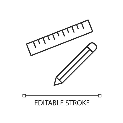 Pen and ruler pixel perfect linear icon. Stationary for school. Writing tool for geometry class. Thin line customizable illustration. Contour symbol. Vector isolated outline drawing. Editable stroke