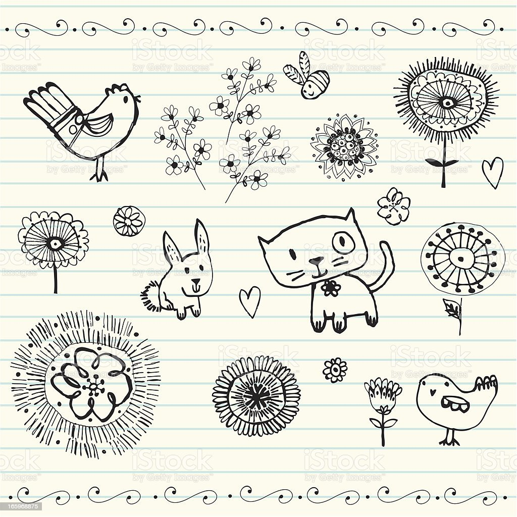 Pen doodle birds flowers and patterns royalty-free stock vector art