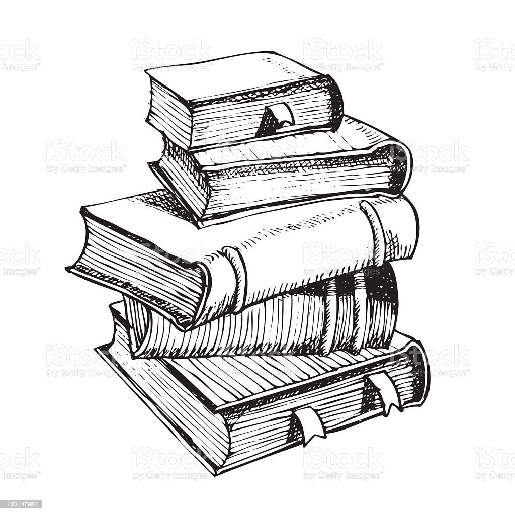 Line Art Book : Pen drawing a pile of books stock vector art more images