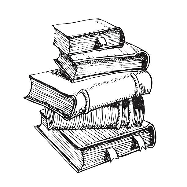 pen drawing a pile of books vector hand pen drawing of pile of books book drawings stock illustrations