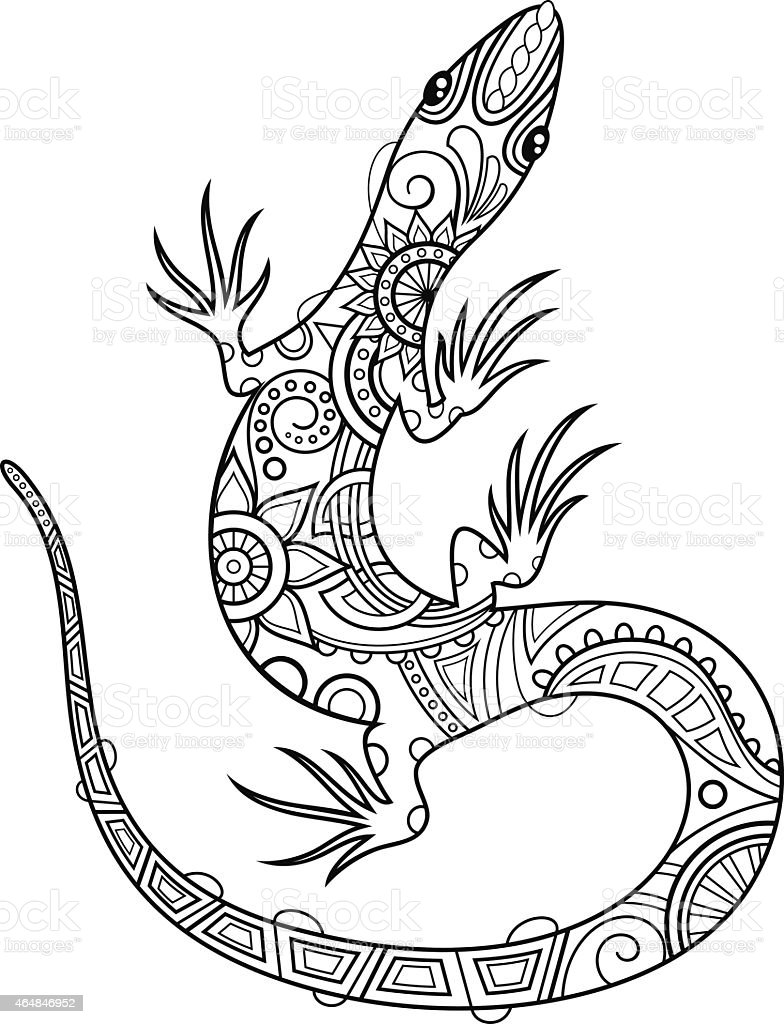 a pen drawing of a tribal lizard royalty free stock vector art