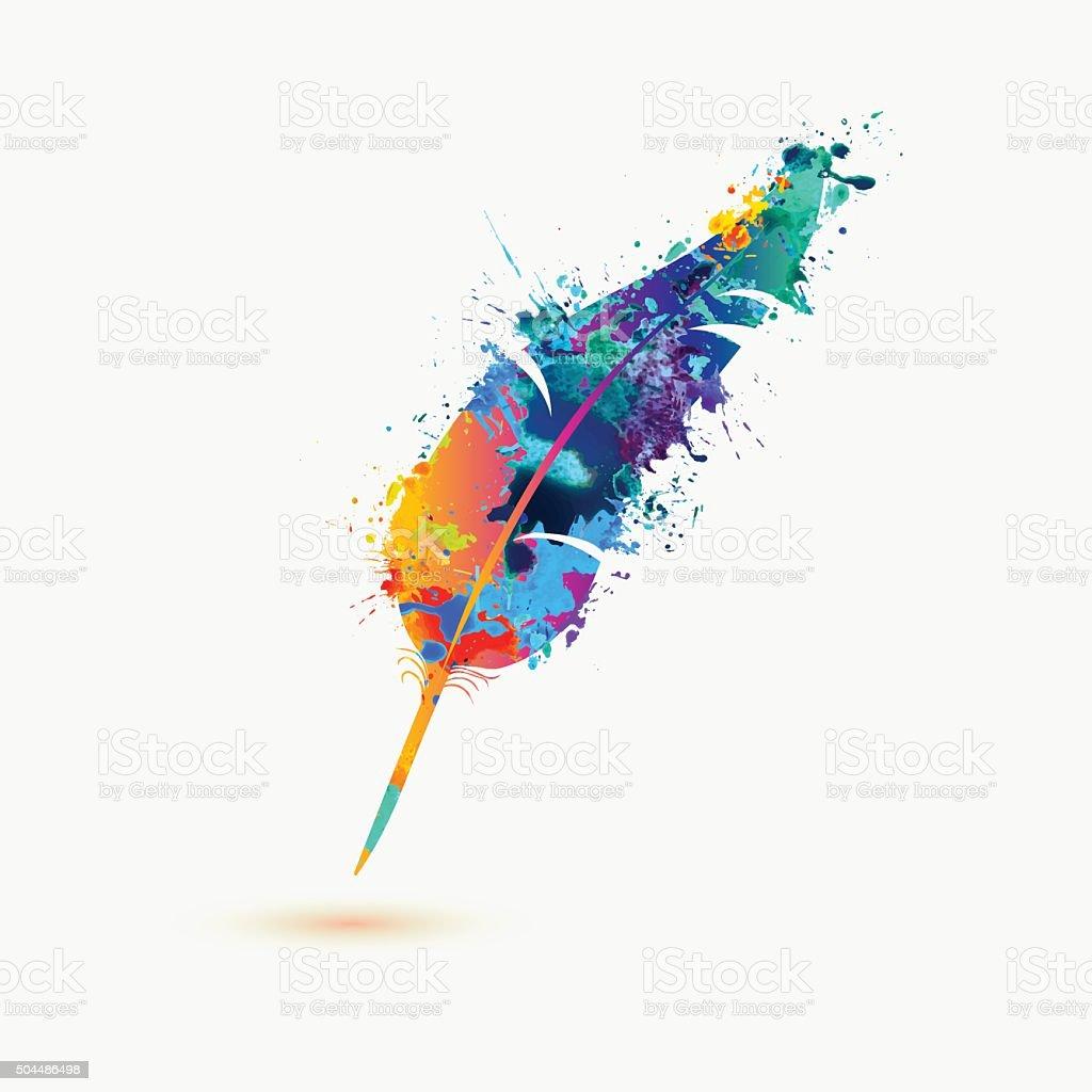 pen feather. Rainbow splash paint vector art illustration