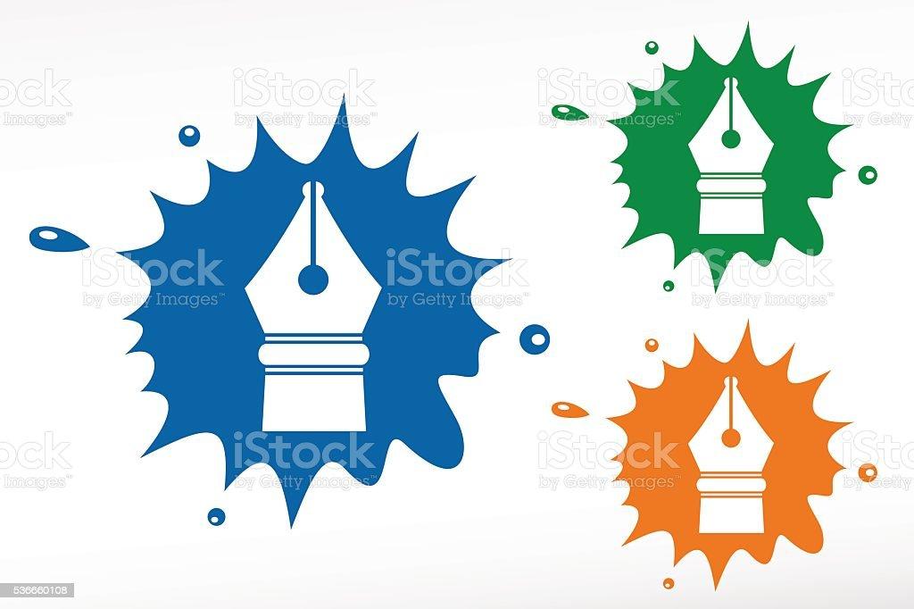 Caneta. Caneta-tinteiro-bolha colorida - ilustração de arte em vetor