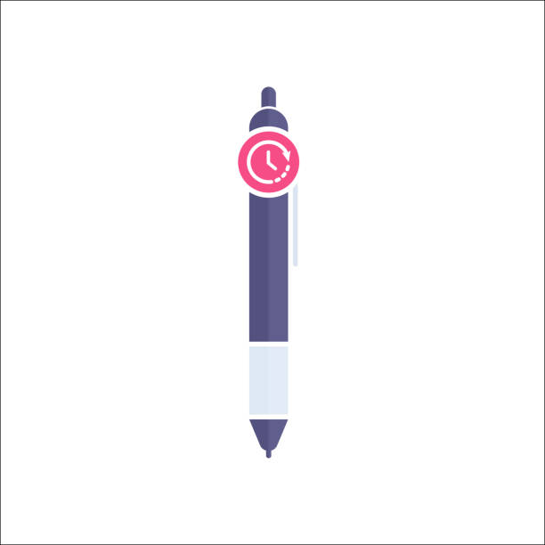 Pen icon, Ball pen, ballpoint, stationery, writing instrument icon with time sign. Pen icon and countdown, deadline, schedule, planning symbol vector art illustration