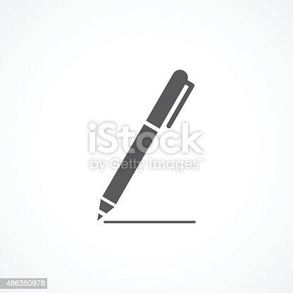Pen Icon Gray illustration on white background