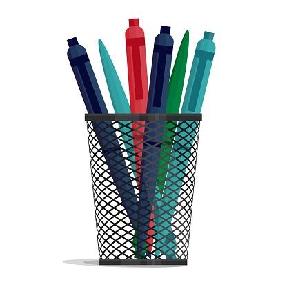 Pen in a holder basket, office organizer box