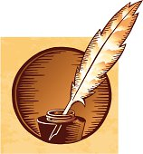 A vector illustration of an ink container with a vintage bird feather pen, like the ones monks used to write with at monasteries during middle age. Basic gradients. Included Illustrator & Freehand native files, plus high-res .jpg image.