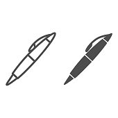 Pen line and solid icon, stationery concept, school writing tool vector sign on white background, office supply symbol in outline style for mobile concept and web design. Vector graphics
