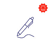 istock Pen Line Icon with Editable Stroke and Pixel Perfect. 1195259282