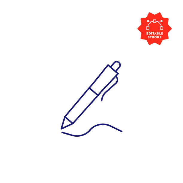ikona linii pióra z edytowalnym obrysem i peryfekiem pixel perfect. - pióro przyrząd do pisania stock illustrations