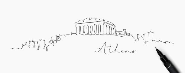 stockillustraties, clipart, cartoons en iconen met pen lijn silhouet athene - athens