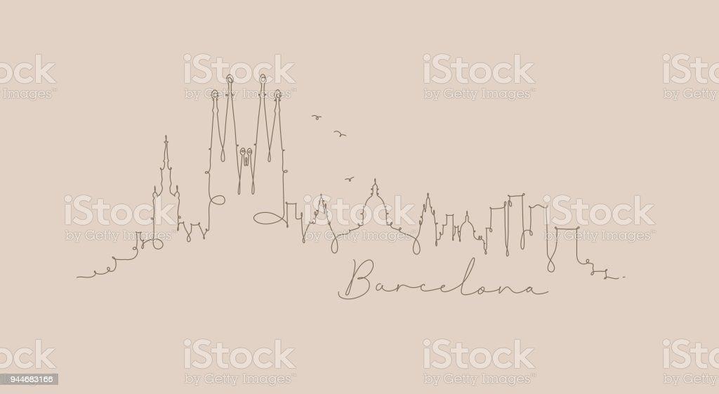 Beige de pluma línea silueta barcelona - ilustración de arte vectorial