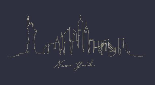 illustrations, cliparts, dessins animés et icônes de bleu-foncé stylo ligne silhouette new york - new york