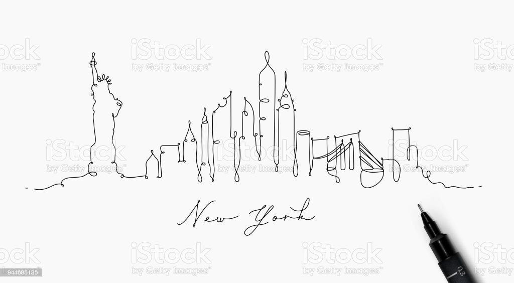 pen line silhouette new york stock vector art  u0026 more images of abstract 944685136