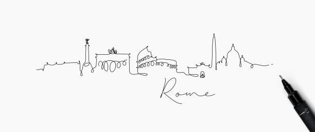 stift-linie silhouette rom - italien stock-grafiken, -clipart, -cartoons und -symbole