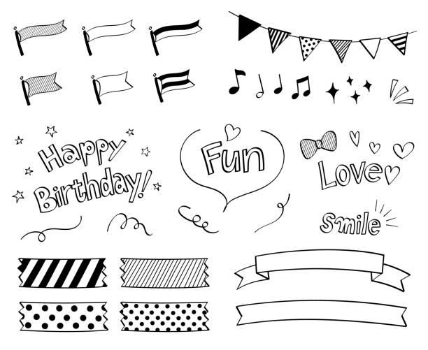 Pen marker hand drawn decoration set (Ribbon, garland, phrase) Pen marker hand drawn decoration set (Ribbon, garland, phrase, character) masking tape stock illustrations