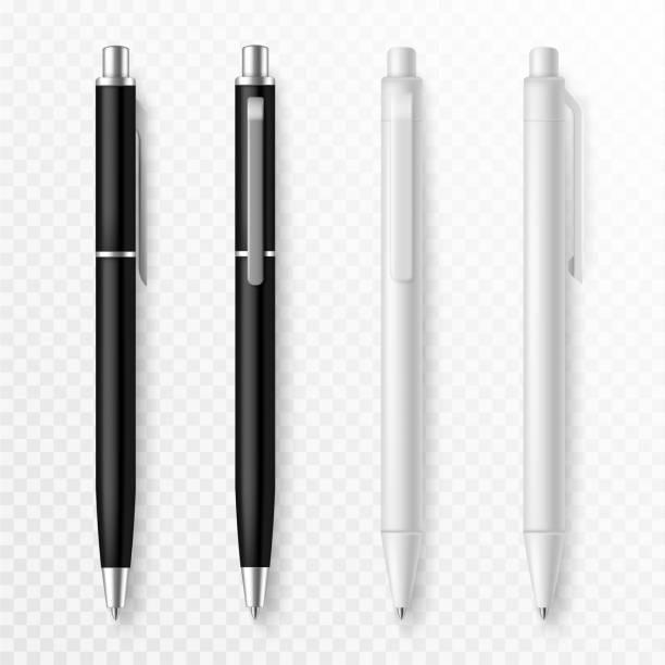 makieta pióra. realistyczne długopisy z bliska szablon, papeterii prezentacji dostarcza długopisy dla tożsamości korporacyjnej, zestaw wektor firmy biurowej - pióro przyrząd do pisania stock illustrations