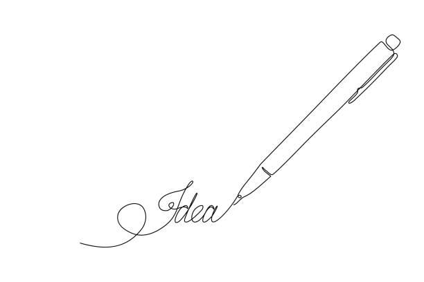 ilustrações de stock, clip art, desenhos animados e ícones de pen noting new idea - writing ideas