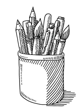 Pen Pencil Paint Brush Tin Drawing