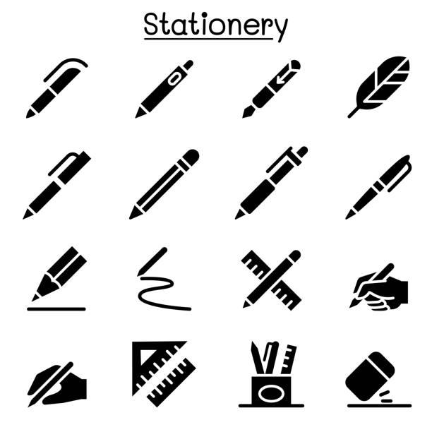 pióro, ołówek, papeteria ikona zestaw wektor ilustracja ilustracja grafika - pióro przyrząd do pisania stock illustrations