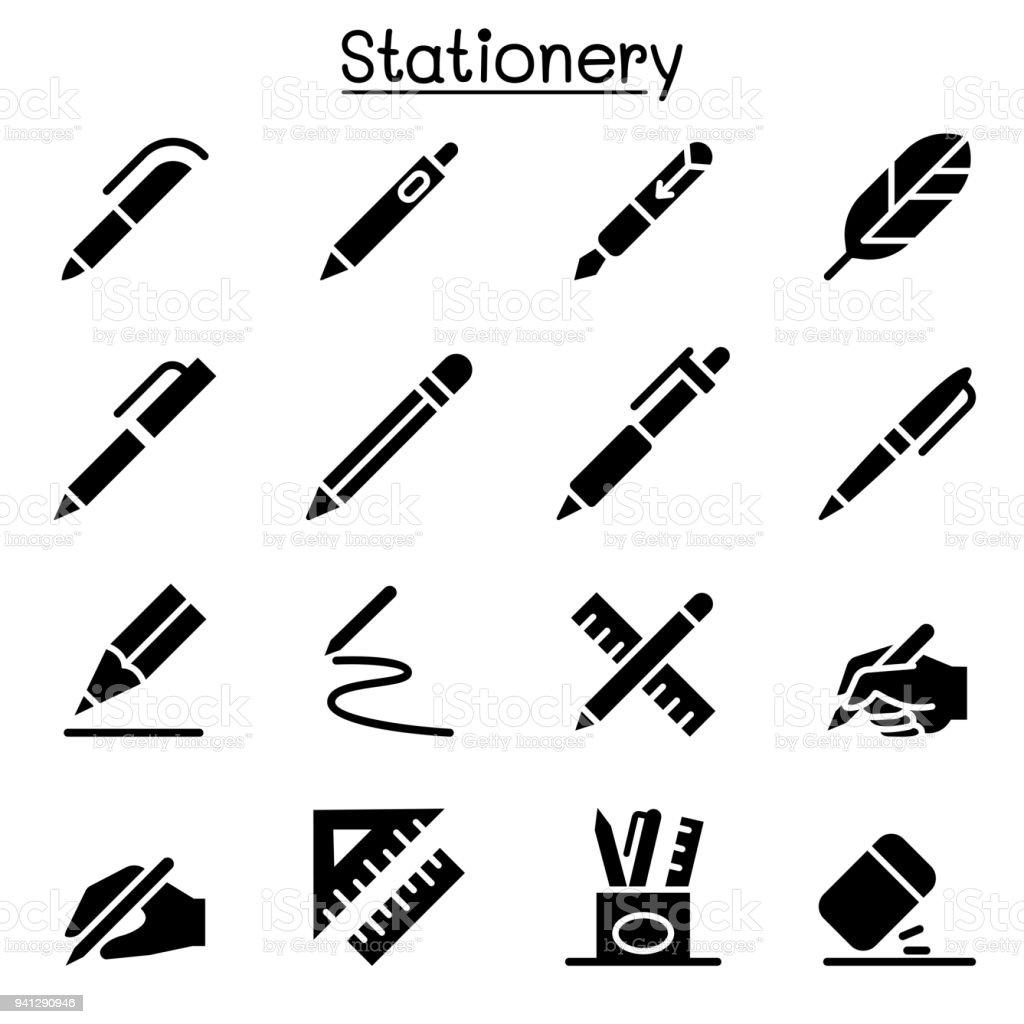Caneta, lápis, artigos de papelaria ícone vector conjunto ilustração design gráfico - ilustração de arte em vetor