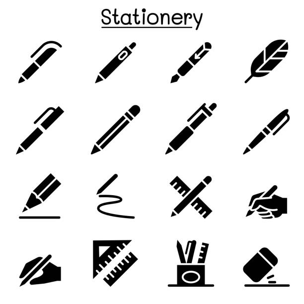 pen, pencil, stationery icon set vector illustration graphic design - ołówek stock illustrations