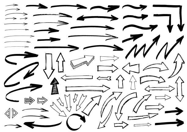pen sketch arrows vector art illustration