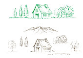 istock Pen sketch illustration of mountain,forest and cabin. 1254311838