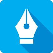 Vector illustration of a blue pen tool icon in flat style.