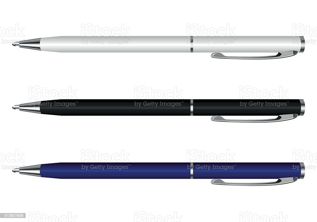 pen vector white blue black - ilustración de arte vectorial