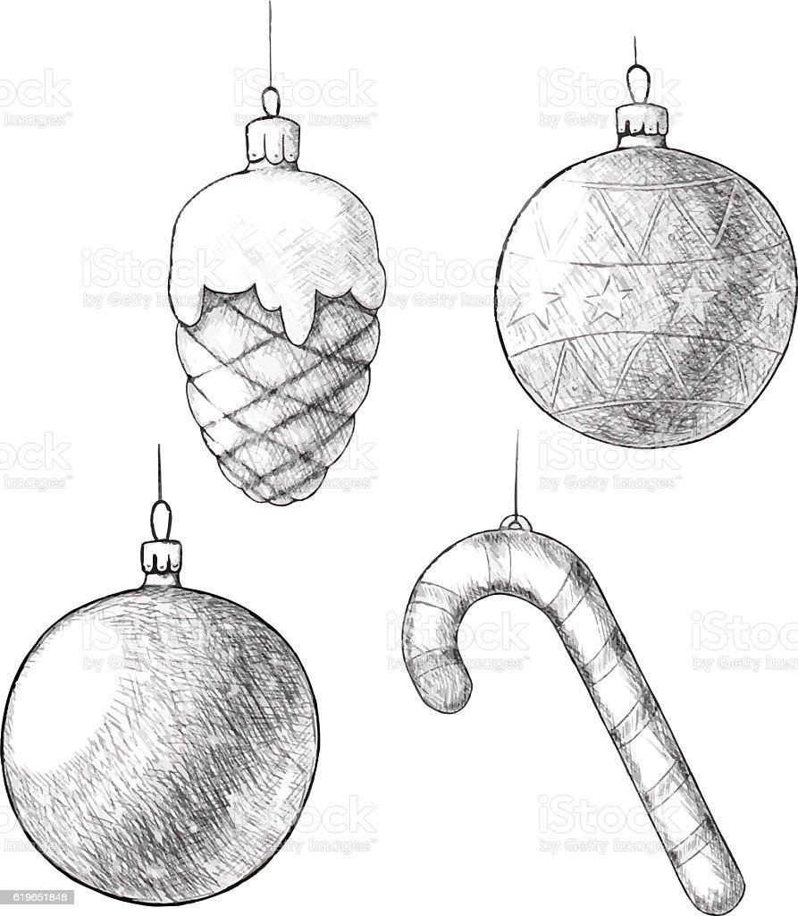 Pen Vintage Sketch Christmas Hand Drawn Ornaments Vektor ...