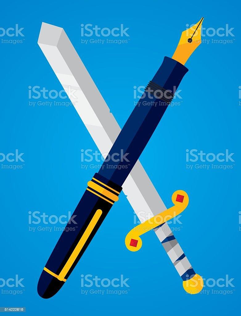 Pen vs Sword vector art illustration