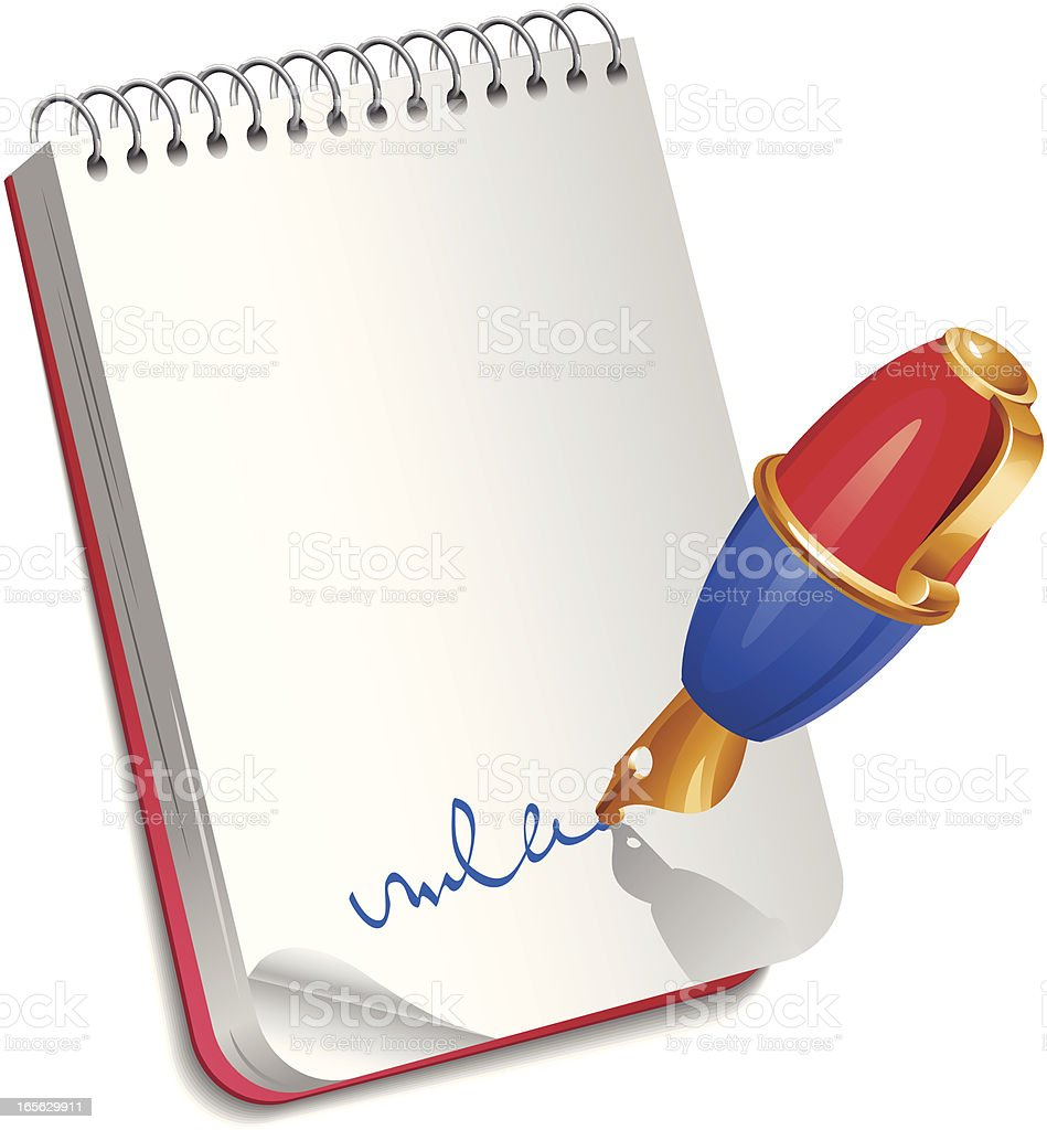 Pen with notebook royalty-free stock vector art
