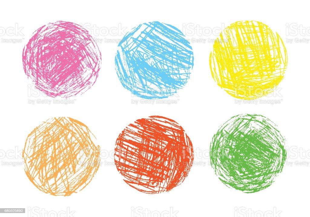 鉛筆和蠟筆喜歡孩子的繪製彩色圓形設計項目。 免版稅 鉛筆和蠟筆喜歡孩子的繪製彩色圓形設計項目 向量插圖及更多 一組物體 圖片