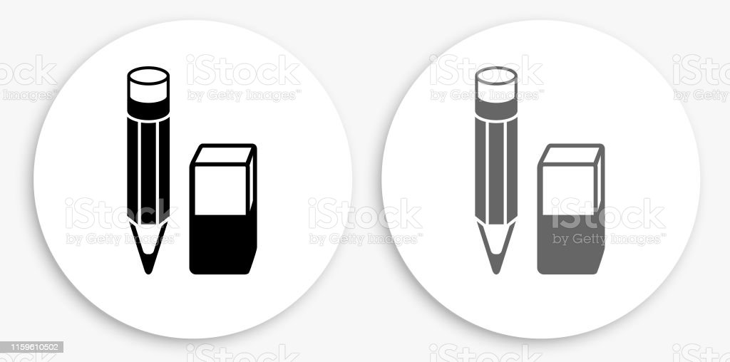 pencil and eraser black and white round icon stock illustration download image now istock https www istockphoto com vector pencil and eraser black and white round icon gm1159610502 317142433